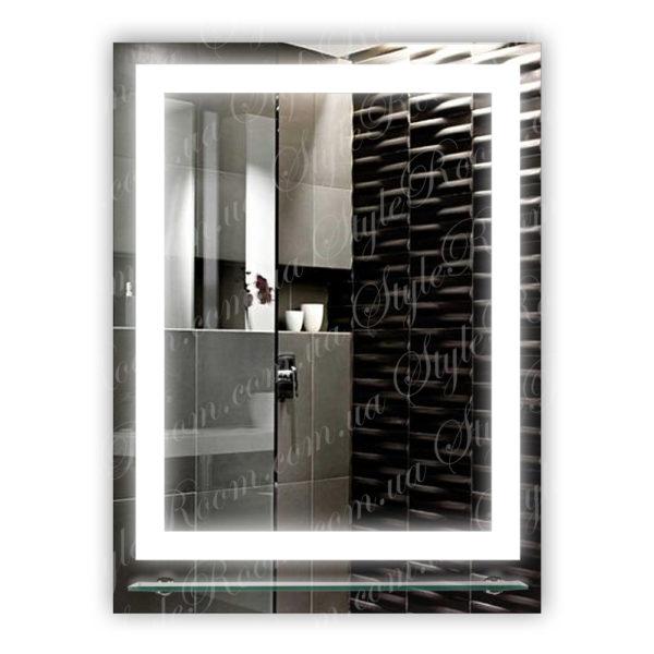 Зеркало с Led подсветкой D27 (600×800мм) с полкой