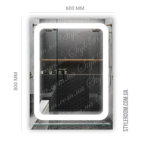 Зеркало с Led подсветкой D28 (600×800мм) с полкой.2