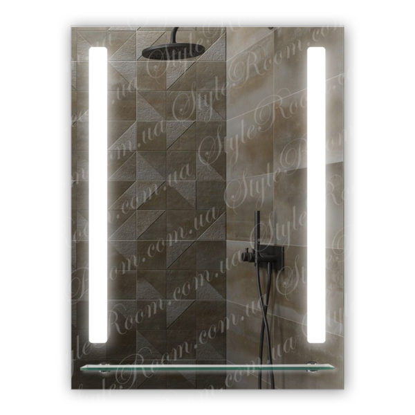 Зеркало с Led подсветкой D53 (600×800мм) с полкой