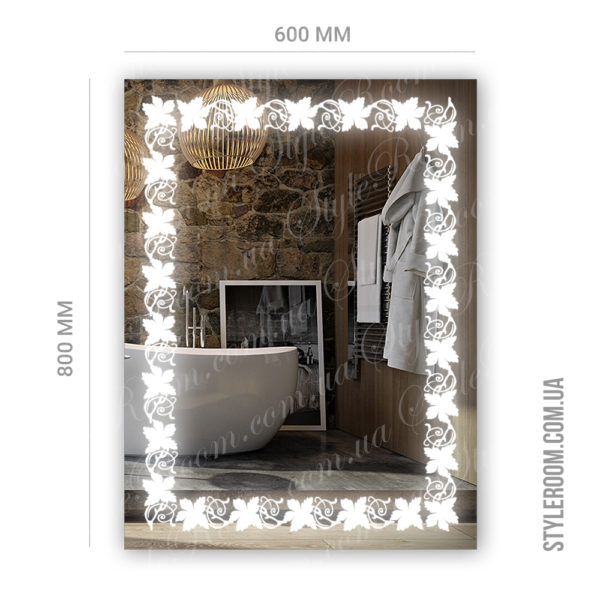 Зеркало с Led подсветкой D85 (600×800мм)-2